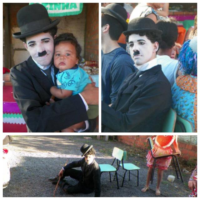 O jovem Maurício, interpretando o principal personagem de Charles Chaplin: o Vagabundo