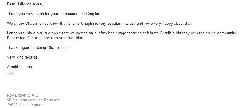 E-mail de Arnold Lozano, do Chaplin Office, Paris.