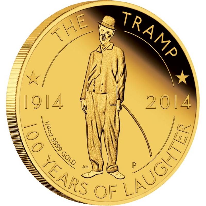 Tuvalu-2014-25-100-Jahre-Tramp-Charlie-Chaplin-1-4-Unze-Gold